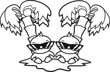 2 freunde team paar palme insel meer ferien sonnen küken cool sonnenbrille urlaub sommer sonne sitzend niedlich klein baby kind ente vogel comic cartoon