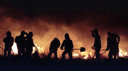Firefighters battle a blaze on Vitosha mountain near the Bulgarian capital Sofia on May 11. Fire dam..