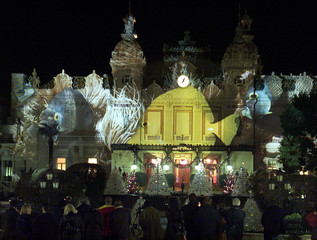 SEASONAL LIGHT SHOW DECORATES THE MONTE CARLO CASINO.