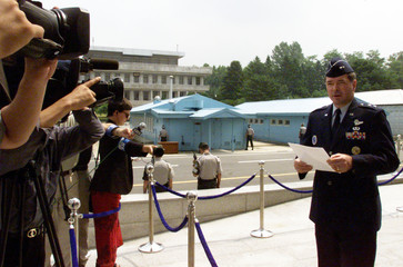 UNC GIVES A SPEECH AT PANMUNJOM IN SOUTH KOREA.