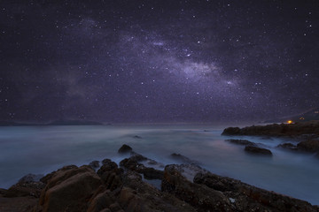 milky way galaxy with beautiful seascape long exposure. Wall mural