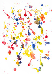 Watercolor drops on the white paper