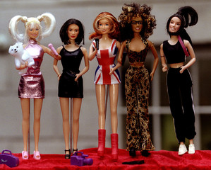 The new Spice Girls Dolls are unveiled at Toy ' 97 in central London October 16. [The figures, which..