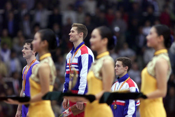 RUSSIAN WINNERS AT MEDAL CEREMONY WORLD GYMNASTICS CHAMPIONSHIPS IN TIANJIN.