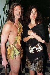 ACTRESS MINNIE DRIVER POSES WITH TARZAN CHARACTER.