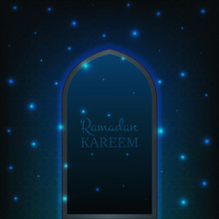 Islamic Ramadan Kareem background. Glowing door with flying shiny particles and pattern