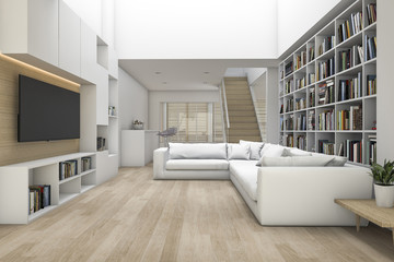 3d rendering living room with sofa and tv and bookshelf with some book