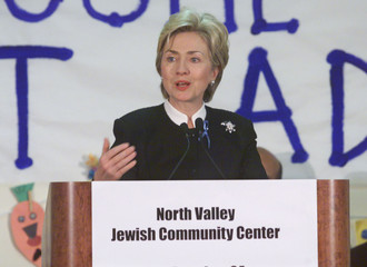 FIRST LADY HILLARY CLINTON SPEAKS AT JEWISH COMMUNITY CENTER.