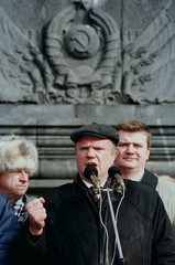 Russian Communists leader Gennady Zyuganov (C) makes a speech during a demonstration February 22. Th..