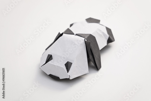 Panda Origami With White Background Stock Photo And Royalty Free