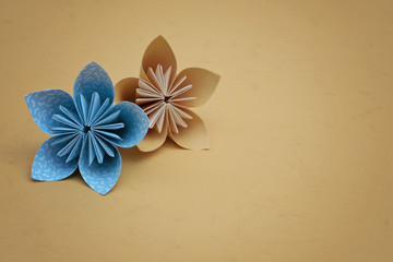 Flower origami with orange background