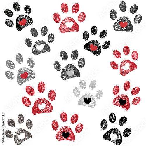 Black and red paw print with hearts background\