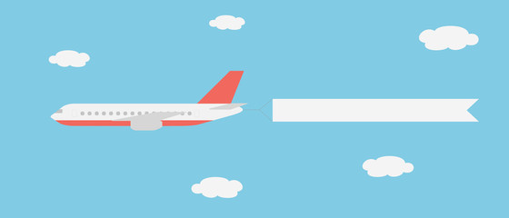 Realistic vector illustration of a large and fast line aircraft with a banner flying between clouds on a blue sky - suitable for advertising