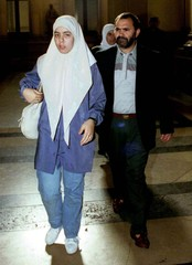 Nabila Benaissa (L) and her father Lahsen (R), sister and father of Loubna, a young girl who disappe..