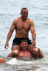 NEW ZEALAND RUGBY TEAM SWIM IN THE MEDITERRANEAN ON FRENCH RIVIERA.