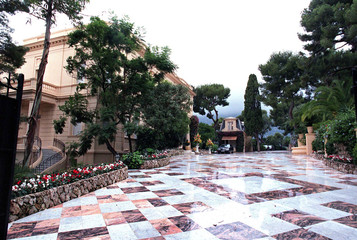 General view of the gardens and marble drive inside the villa of Zairean President Mobutu Sese Seko,..