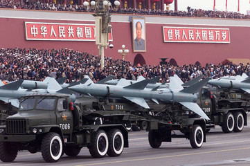 CHINESE MISSILES PASS TIANANMEN SQUARE DURING THE NATIONAL DAY PARADE IN BEIJING.