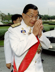 New Aspiration Party leader, Chavalit Yongchaiyudh, seen here arriving on November 23 to listen to T..
