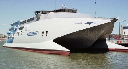 """The new fast ferry """"Catalonia"""" sits in the New York harbor June 4. The Catalonia will try to break t.."""