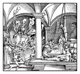 Medieval representation of torture, XV century engraving by Hans Burgkmair