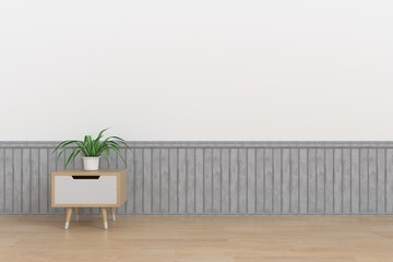 A filing cabinet with ornamental wood placed on top in a wide room,3D rendering