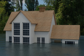 3D rendering of half of a house under flood