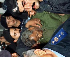 PALESTINIAN COLONEL AHMED ABU MUSTAFA IN GAZA MILITARY COURT.