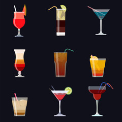 Set of alcoholic cocktails isolated on black background. Cocktail collection.