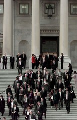 DEMOCRATS WALK OUT OF THE HOUSE IN PROTEST.