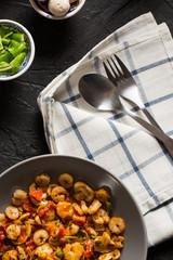 Tasty shrimps served on Black Plate