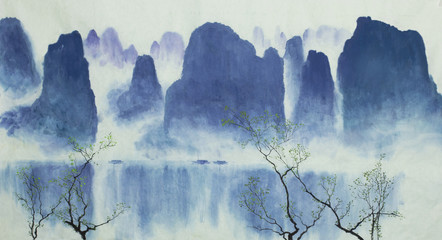 Chinese mountains water and fog