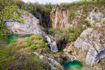 Amazing cascade waterfalls in Plitvice Lakes National Park, Croatia