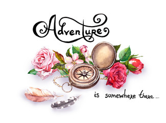 Vintage compass, flowers, feathers with note Adventure . Travel concept. Watercolor