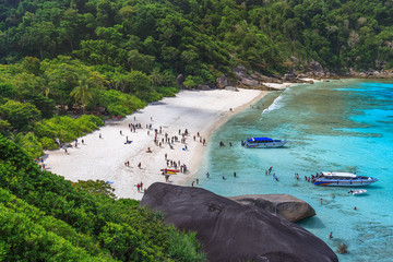 Tropical island beach and clear blue lagoon water with blue sky at Similan  Island, Phang Nga Province, South of Thailand