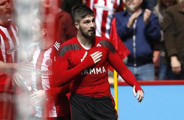 Sheffield United's Kieron Freeman celebrates after scoring their first goal