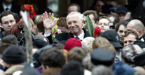 NEWLY ELECTED CZECH PRESIDENT VACLAV KLAUS GREETS PEOPLE IN PRAGUECASTLE.