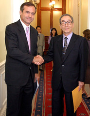 Chile's Foreign Relations Minister Walker shakes hand with Japan's ambassador to Chile Ogawa in Santiago