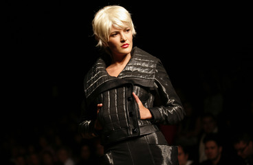 A model presents a creation from Mexican designers Jesus Ibarra and Bertholdo in Mexico City