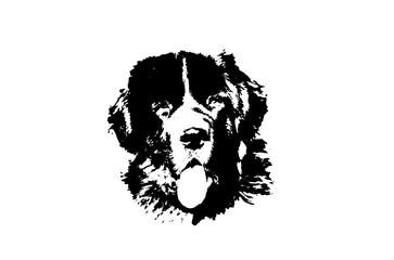 landseer dog vector logo