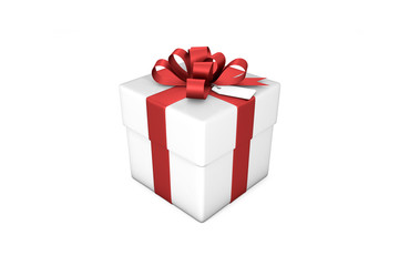 3d illustration: White gift box with red silk ribbon / bow and tag on a white background isolated.