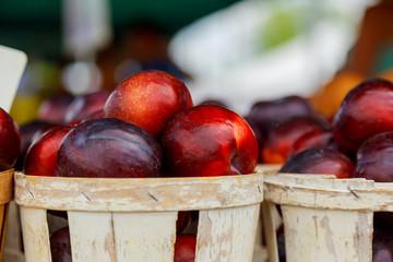 farmer's market selling plums