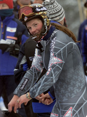 PICABO STREET OF USA AFTER PRACTICE RUN AT WORLD CUP DOWNHILL IN LAKELOUISE.