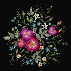 Embroidery wild roses, dogrose flowers vector. Classic style embroidery, beautiful fashion template for clothes, t-shirt design