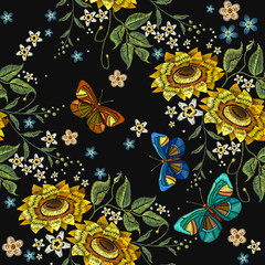 Embroidery sunflowers and butterflies seamless pattern. Classical embroidery blossoming sunflowers and color butterflies seamless background. Template for fashion clothes, t-shirt design