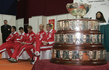 Russia's Davis Cup team sit during the draw of their Davis Cup match in Moscow
