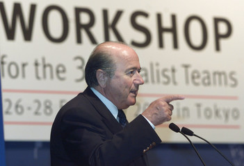 FIFA PRESIDENT BLATTER STRESSES A POINT IN HIS OPENING SPEECH AT FIFAWORLD CUP TEAM WORKSHOP MEETING ...
