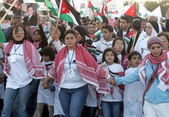 Jordanians attend rally outside Grand Hyatt hotel in Amman