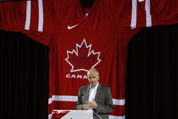 Furlong, CEO of the Vancouver Olympic Organizing Committee, speaks at the unveiling of team Canada's 2010 Olympic and Paralympic hockey sweaters in Vancouver
