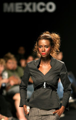 Model wears creation by Mexican designer Villareal during fashion week Mexico