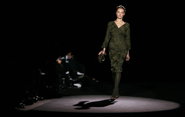 A model walks the runway during the Carolina Herrera collection show at New York Fashion Week in New York